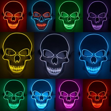 Halloween Costume Made Of Led Lights (Tagital LED Scary Skull Halloween Mask Costume Cosplay EL Wire Light Up Halloween)