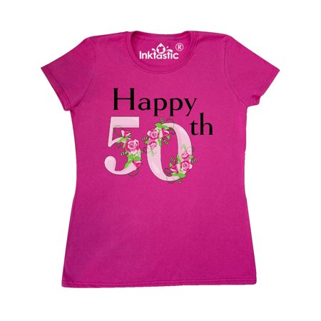 Happy 50th Birthday With Roses Womens T Shirt