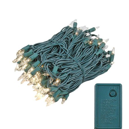 Novelty Lights 140 Light Chasing Patio Party Christmas Mini Light Set, Green Wire, 46.5' Long ()
