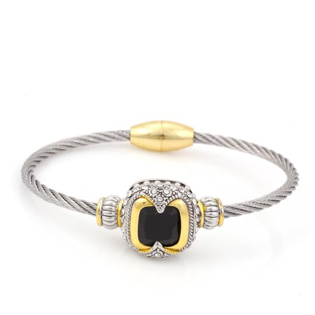 - TAZZA WOMEN'S OXIDIZED ANTIQUE VINTAGE LOOK CABLE JEWELRY COLLECTION TWO TONE BLACK CRYSTAL BRACELET #42269BR-BLK