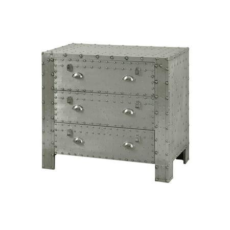 Industrial 3-Drawer Chest - Aluminum and Chrome Rivet Details Bedroom Chrome Dresser