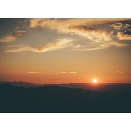 Sunset Over The Mountain Home Wall Artwork Decoration Posters, Small Signs - 7.5x10.5