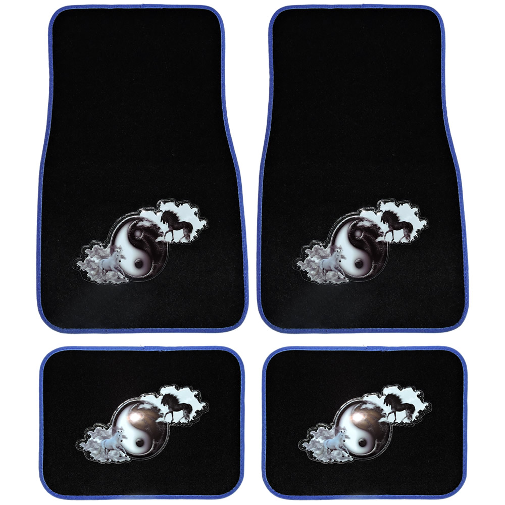 UAA Yin Yang light vs dark Horses Universal Front & Rear Carpet Floor Mats set for Car Truck