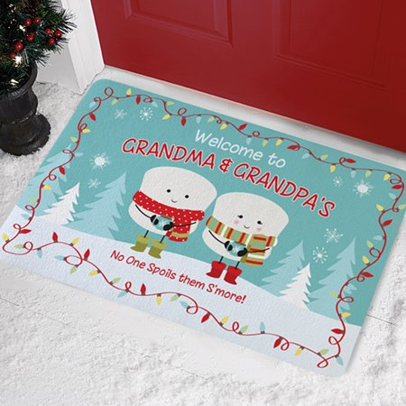 Personalized Lovable Marshmallow Holiday Doormat - Couple-Available in 3 Patterns