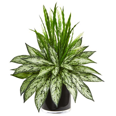 Nearly Natural Silver Queen and Grass Artificial Plant in Black Vase ()