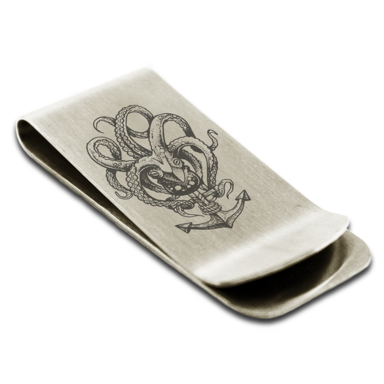 Mens Stainless Steel Brushed Anchor Money Clip