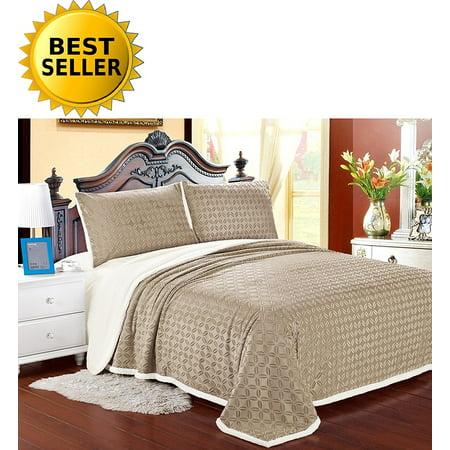 Elegant Comfort Luxury Sherpa Blanket On Amazon  Best Seller Micro Sherpa Ultra Plush Blanket   King  Beige