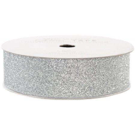 American Crafts Glitter Paper Tape 3yd-Silver .875