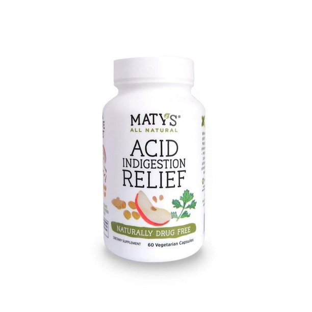 Matys All Natural Acid Indigestion Relief Eases Heartburn & Reflux, 60 Capsules