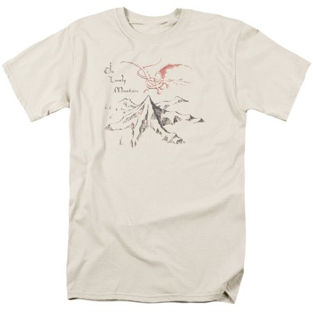 The Hobbit Lonely Mountain Mens Short Sleeve Shirt (Cream, Small) ()
