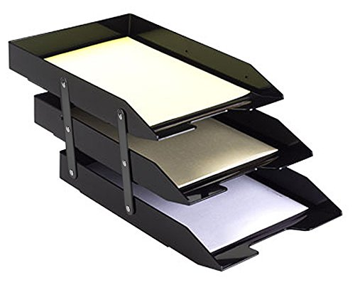 Acrimet Collapsible Articulated Letter Tray Triple Black Color by Acrimet