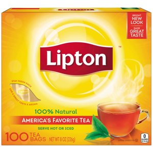 Lipton 100% Natural Tea Black Tea Bags, 100 ct
