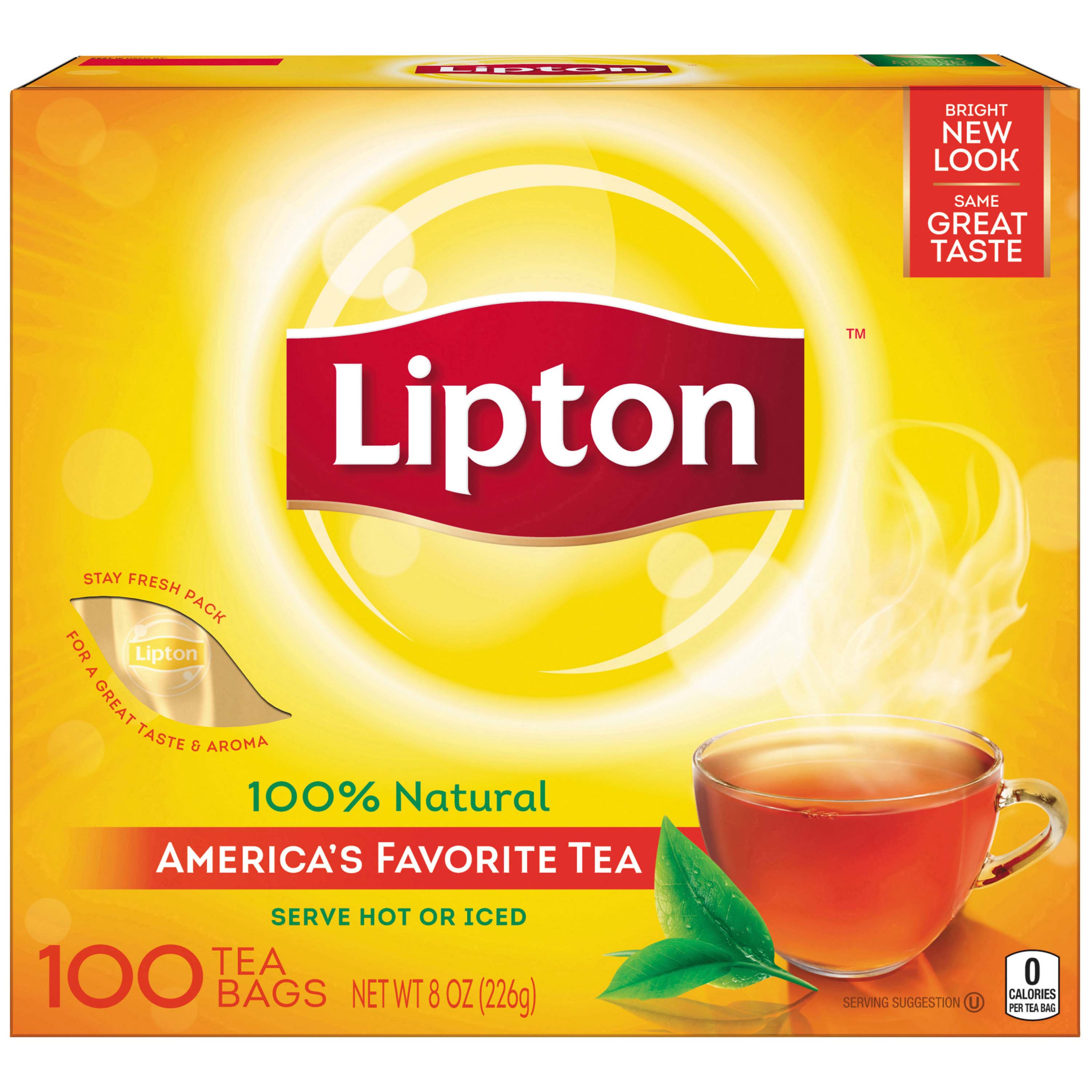 (6 Pack) Lipton 100% Natural Tea Black Tea Bags, 100 ct