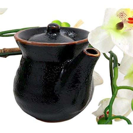 Atlantic Collectibles Japanese Tenmoku Glazed Porcelain Soy Sauce Condiment Dispenser Flask -