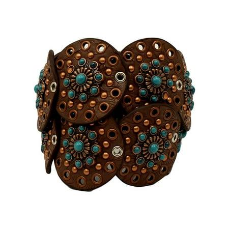 Nocona Western Belt Womens Wide Disk Conchos Floral Brown N3425302 34 Brown Western Belts