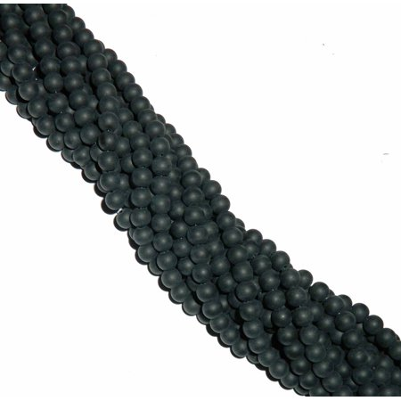 8mm Frosted Synthetic Black Onyx Round, Loose Beads, 40 cm 15 inch (Loose Cz Stones)