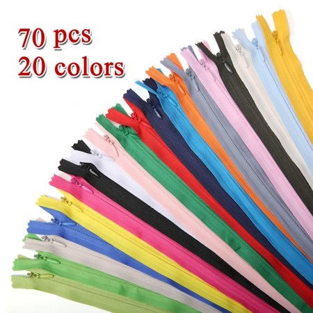 70Pcs 20 Colors 40cm/16inch  Nylon Coil Zipper Assorted Mix Colors Closed End Clothes Zippers For Sewing Tailor Tailored Fit Mix
