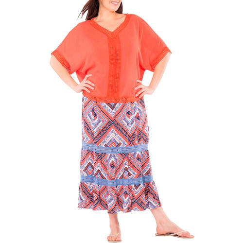 Plus Moda Women's Plus-Size Pretty Peasant Maxi Skirt with Crochet Lace Trim