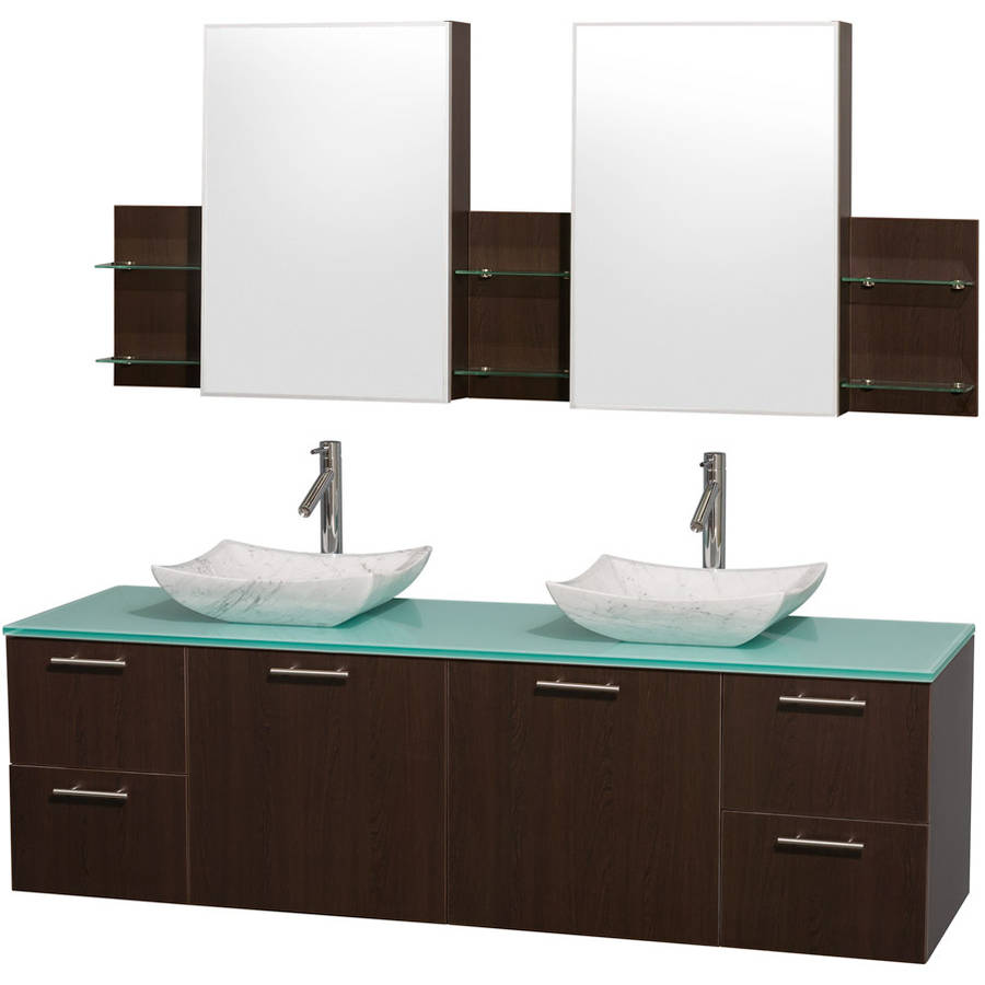 Wyndham Collection Amare 72 inch Double Bathroom Vanity in Espresso with Green Glass Top with Carrera Marble Sinks, and Medicine Cabinets