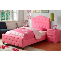 HomePop Diva Upholstered Headboard and Footboard, Pink, twin