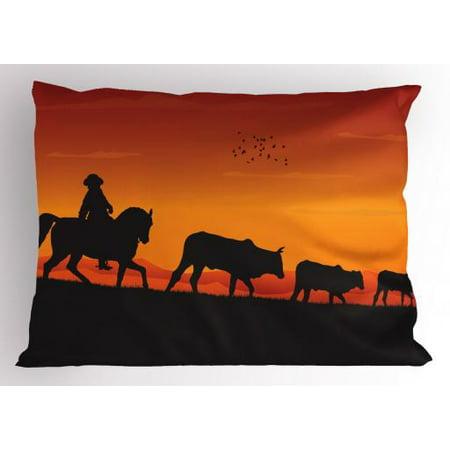 Cattle Pillow Sham Silhouette Farm Theme Cowboy Man Riding Horse Cow Herd in the Ranch, Decorative Standard Size Printed Pillowcase, 26 X 20 Inches, Vermilion Orange Black, by - Cowboy Theme Ideas