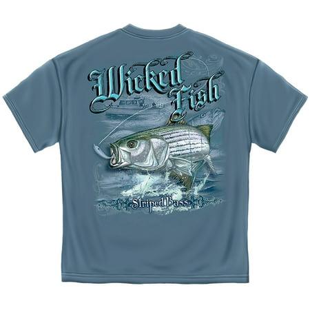 Fishing T-Shirt Wicked Fish Stripper Bass (Bass Fish Fishing T-shirt)