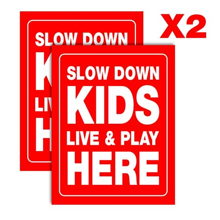 Accelerated Intelligence Inc. Slow Down Kids Live & Play Here Yard Sign | Double-Sided Red on White Safety Slow Down Signs for Sidewalks, Yards and Driveways 18