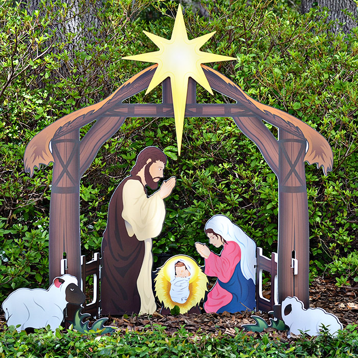 Teak Isle Outdoor Nativity Set | Weatherproof Printed Holy Family Outdoor Nativity Scene for Yards and Lawns