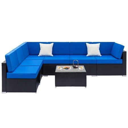 Outdoor Wicker Sectional Sofa Set, 7-Piece Patio Furniture Conversation Set w/ Coffee Table & Patio Sofa, All-Weather Rattan Wicker Sofa Set, Outdoor Couch Set for Backyard, Pool, Black, W2259 ()
