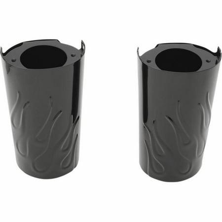 Drag Specialties 0411-0131 Flame Fork Slide Covers - Stock - Black ()