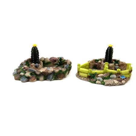 2 Pcs Resin Lifelike Rock Reptiles Food Dish Corner Bowl Terrarium Tank ()