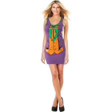 Womens Sexy Batman Joker Tank Dress With Cape Costume - The Joker Adult Costume