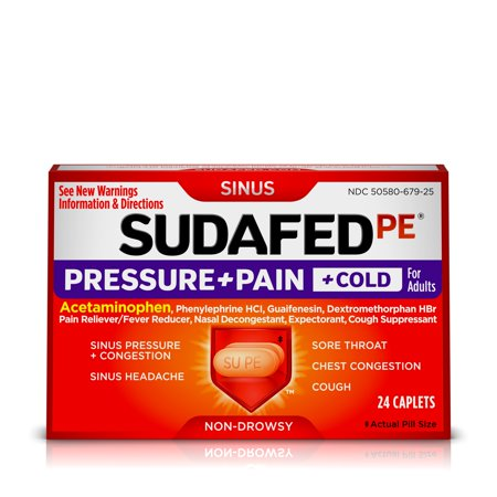 Sudafed PE Pressure + Pain + Cold Relief Caplets for Adults, 24