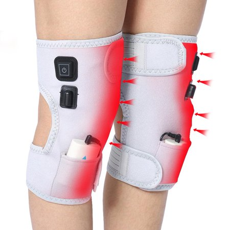 WALFRONT 1 Pair Knee Heated Massage Pads Knee Joint Arthritis Pain Physiotherapy Massager Heat Vibration Relax Machine US