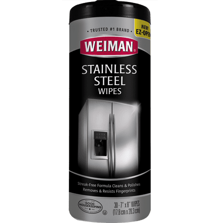 Weiman Stainless Steel Cleaner Wipes - 30 Count Give your appliances the showroom treatment with the convenient Weiman Stainless Steel Canister Wipes. A cleaning wipe designed with a polish that protects and resist fingerprints, watermarks & grease; while also repelling dust and dirt to keep your kitchen shining brighter & longer. Your stainless steel fridge, outdoor grill, dishwasher, washing machine, washer & dryer, microwave, cooktop, sink, faucet, and any metal or stainless-steel appliance surface will effortlessly convey a streak free, premium stain resistant and clean look. Weiman Stainless Steel Cleaner & Polishing Wipes help restaurants and commercial environments with the highest of expectations to look their very best (surfaces, refrigerator, and appliances). Weiman polishes, resists scratching, and resists staining with just a simple wipe & buff, then youre done! Restore the brilliant look of your kitchen with our line of Weiman specialty cleaning products that compliment your wood floors, cooktops, granite surfaces, silverware and more! Weiman Products is the perfect home, chef, pro, scratch resistant, cleansing, household, professional, and at work solution for all of your stainless steel cleaning and buffing needs. The best specialty cleaning products you will buy online or in a store. When cleaning is your therapy, Weiman is your method, just wipe away & not a fingerprint in site! Weiman wants each of the surfaces in your home to look its absolute best. Thats why we have developed cleaning products that go beyond simply cleaning to beautify and protect each of your delicate, difficult to care for surfaces. From stainless steel to leather to granite, each of our products is formulated specifically for one surface and one surface only; allowing you to achieve the perfect results that your home deserves. A clean home is great, but we want it to look more than clean, we want it to look spectacular! Weiman leaves a polishing shine and acts as a protector w