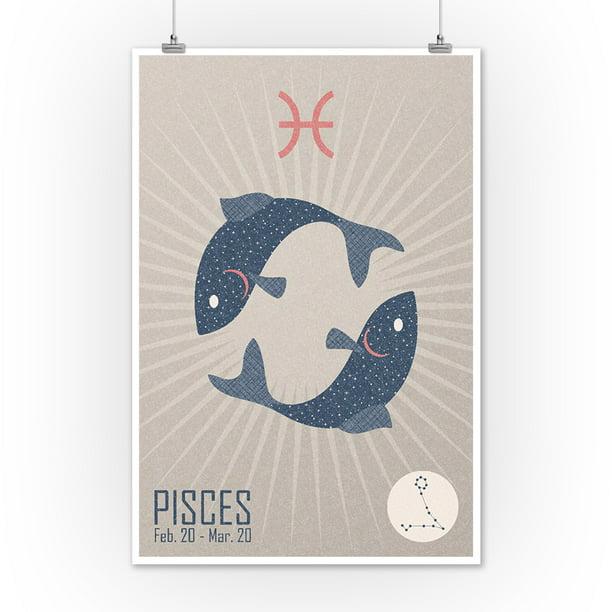 Astronomy Decor Pisces Photo Paper Poster Astrological Sign Horoscope Artwork