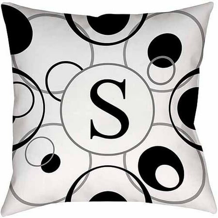 Thumbprintz Circle Variations Monogram Black and White Decorative Pillows