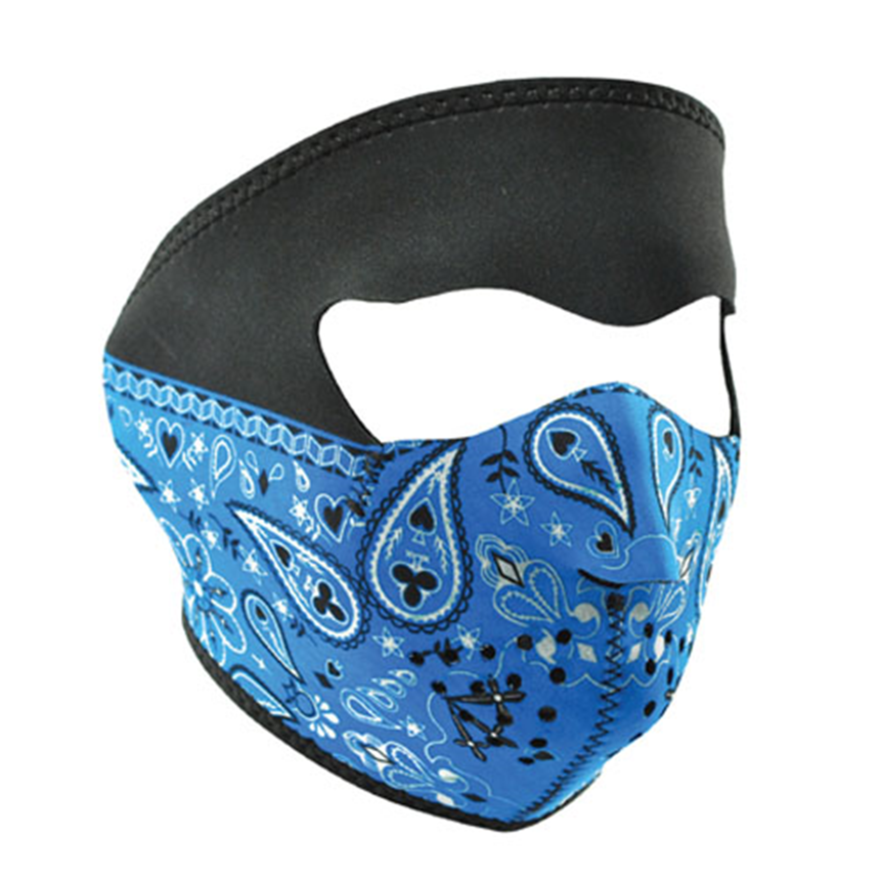 NEOPRENE FACE MASK, BLUE PAISLEY BANDANNA
