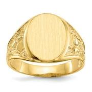 14K Yellow Gold Men's Signet Ring Size-10