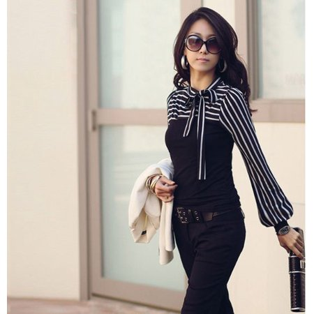 Striped Puff Sleeve Top - Korean Fashion Women Lady Slim T-Shirt Puff Long Sleeve Polo Neck Stripe Tops Black