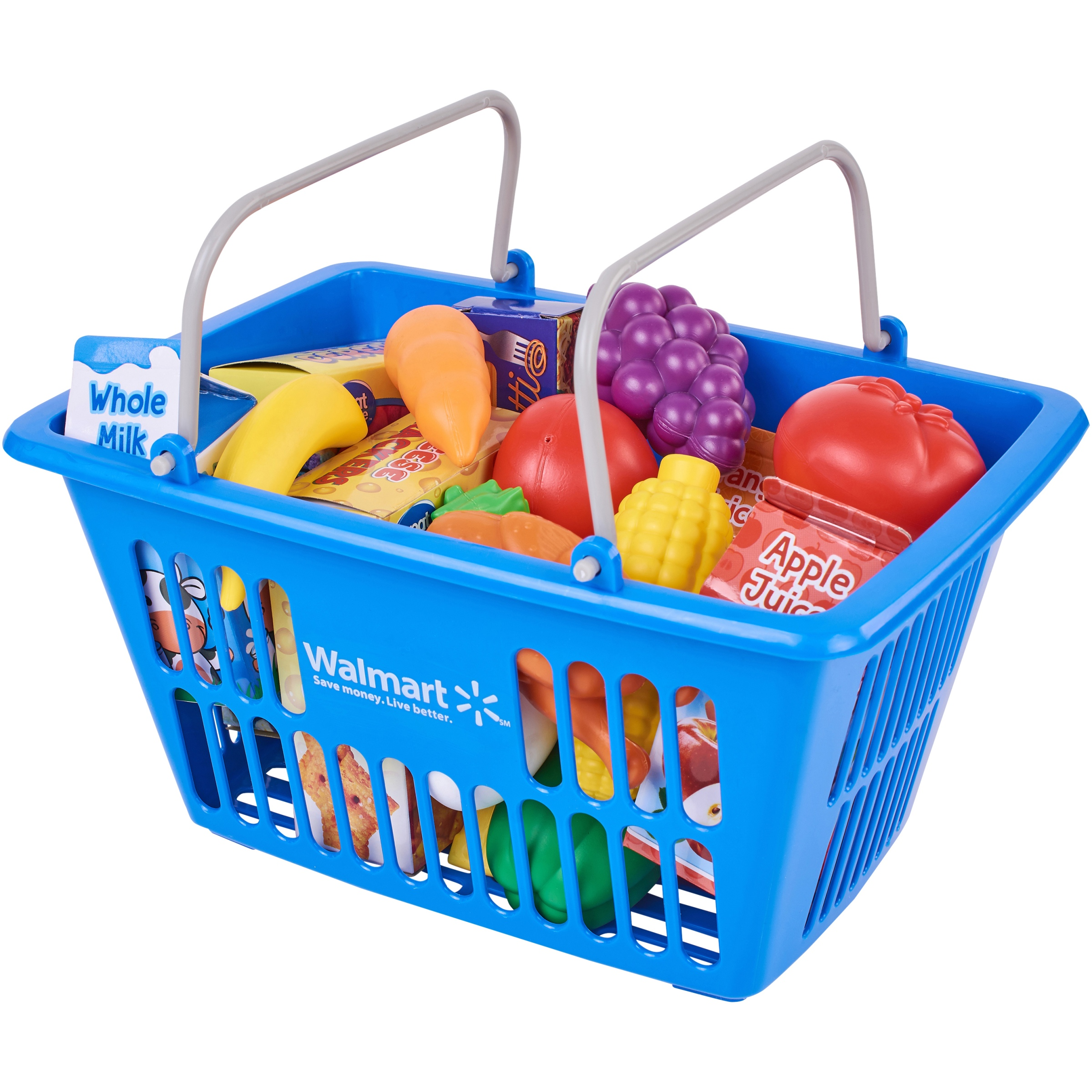 Spark. Create. Imagine. Shopping Basket Play Food Set, Designed for Ages 3 and Up