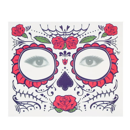 Temporary Tattoo Sticker Scars Terror Halloween Flowers Pattern Eyes Face Stickers Makeup Stage](Halloween Make Up Dm)