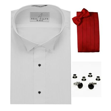 Wing Collar Tuxedo Shirt, Red Cummerbund, Bow-Tie, Cuff Links & Studs Set