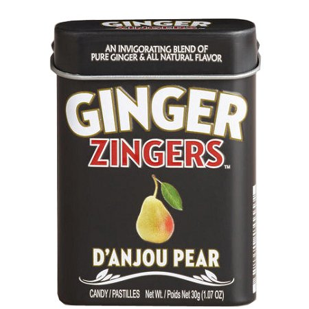 Ginger Zingers Danjou Pear Flavored Candy 1.07 Ounce Tins, (Pack of 12)