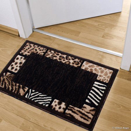 Allstar Black High Density Double Shot Drop-Stitch Carving Animal Skin and Nature. Safari Woven Doormat Accent Rug (2' x 3' 3