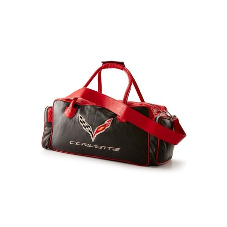 820d8bd0e7ea Corvette C7 Leather Duffel Bag with C7 Crossed Flags Logo (Black and Red)