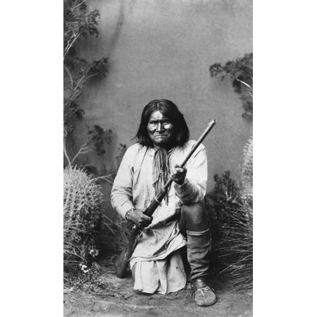 Geronimo  1829 1909  Namerican Apache Leader Photographed By A Frank Randall 1887 Rolled Canvas Art     18 X 24