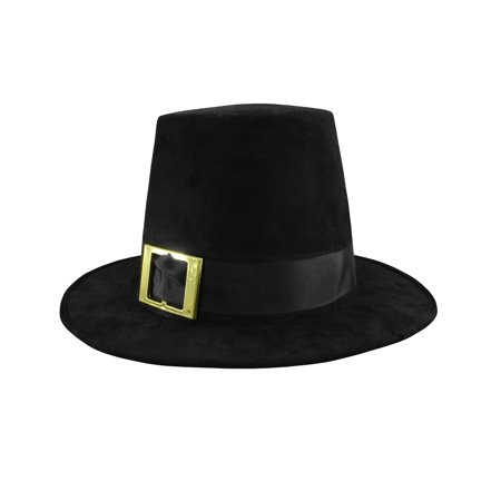 Deluxe Pilgrim Hat With Buckle Top Hat Costume, Black, One Size (Female Pilgrim Hat)