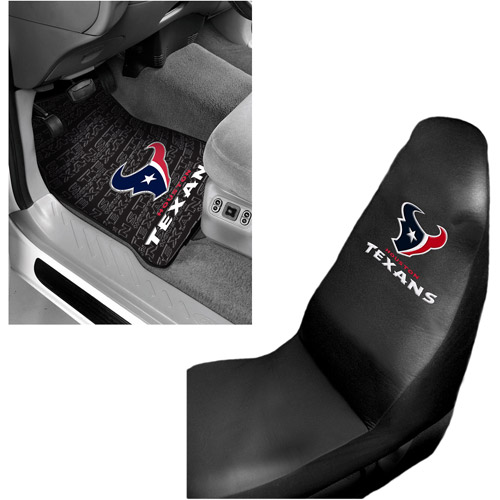 NFL Houston Texans 2 pc Front Floor Mats and Houston Texans Car Seat Cover Bundle