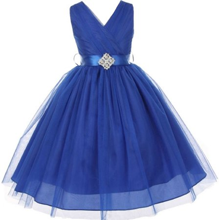 Little Girls Sleeveless V Neck Tulle Rhinestone Party Birthday Flower Girl dress Royal Blue Size 2 - Little Girls Birthday Party